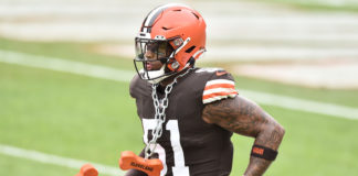 Cleveland Browns outside linebacker Mack Wilson (51) runs onto the field before the game between the Cleveland Browns and the Pittsburgh Steelers at FirstEnergy Stadium.