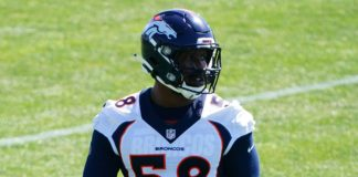 Von Miller at voluntary workouts in May. Credit: Ron Chenoy, USA TODAY Sports.