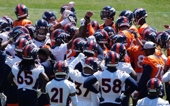 Broncos team in OTAs in June. Credit: Ron Chenoy, USA TODAY Sports.