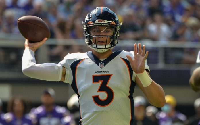 Drew Lock in the Broncos win over the Vikings on Saturday. Credit: Jeffrey Becker, USA TODAY Sports.