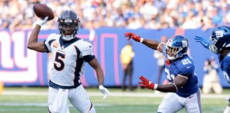 Teddy Bridgewater rolls to the right and throws to Albert O. on the Broncos crucial 2-minute drive which set the tone for the game. Credit: Vincent Carchietta, USA TODAY Sports.