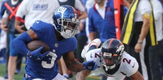 Surtain looked silly when he was out of position and missed the tackle on Sterling Shepard as the Giants scored a touchdown on the play. Credit: Chris Pedota, USA TODAY Sports.