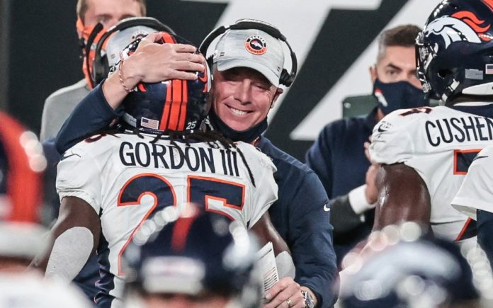 Pat Shurmur and Melvin Gordon in 2020. Credit: Vincent Carchietta, USA TODAY Sports.