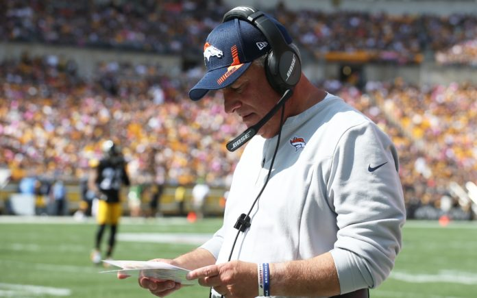 Vic Fangio on the sideline in Pittsburgh on Sunday. Credit: Charles LeClaire, USA TODAY Sports.