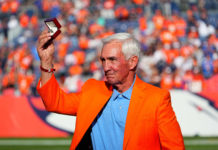 Former Denver Broncos head coach and Ring of Fame induction of Mike Shanahan during the game against the Las Vegas Raiders at Empower Field at Mile High.
